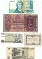 Lot Of 5 European Banknotes & Coupon, Croatia #27, Hungary #98, Italy Ticket? Coupon?, Russia #268b, Turkey #192 - Lots & Kiloware - Banknotes