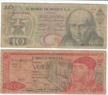 Lot Of 2 Mexico 1969-1973 Banknotes #63b & #64b - Mexico