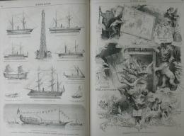 N°539 MONDE ILLUSTRE: MEXIQUE MOEURS ET COUTUMES/LE HAVRE/EXPO.UNIVERSELLE ADOLPHE SAX/PHARE ELECTRIQUE/NAVIRES - 1850 - 1899