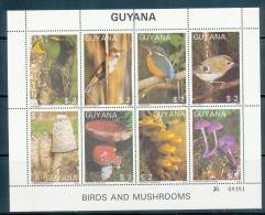 GUYANA 1988 BIRDS AND MUSHROOMS SC# 1866 M/S OF 8  VF MNH - Guyana (1966-...)