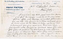 1937 BOIS DE CHAUFFAGE ET DE CONSTRUCTION SCIERIE ELECTRIQUE HENRI FATON A DOMPIERRE SUR MONT JURA - 1900 – 1949