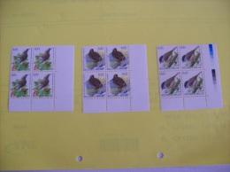 BUZIN  N°3264-3199 Et  3389  - Lot De 3 Bloc De 4 Coin Inferieur Droit  - Voir Photo - 1985-.. Birds (Buzin)