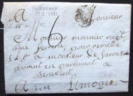 Marque Linéaire De BORDEAUX - 18/8/1781 - Indice 16 - Marcophilie (Lettres)