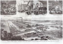 Gravure  1867  LILLE FIVES  USINE   PARENT SCHAKEN  HOUEL CAILLET - Vieux Papiers