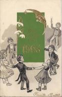 8241 - Bonne Et Heureuse Année 1905 Enfants Faisant La Ronde, Maitre D'école Avec Un Verre De Champagne - Nouvel An