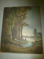 TABLEAU Ancien, Huile-sur-toile Peinture XIXe Signé Edouard DUPARC (école BARBIZON) :pêche Bord De Forêt,village Au Fond - Oils