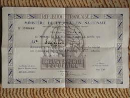 Brevet Sportif Populaire 2ème échelon - Paris Le 8 Juin 1939 à Mr Lagarde - St Trojan Les Bains (17) - Diplomi E Pagelle