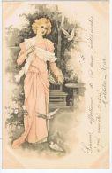 Cpa Style Viennoise - Femme En Robe Rose Et Colombes - Illustrators & Photographers