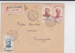 MADAGASCAR - 1952 - ENVELOPPE RECOMMANDEE De ANTSIRABE Pour TANANARIVE - Madagascar (1889-1960)