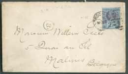"""Grande-Bretagne 2½p. Bleu Et Violet Obl. Duplex """"1"""" LONDON S.W. Sur Enveloppe  Du 23 Mai 1887 Vers Malines - Backside : - 1840-1901 (Victoria)"""
