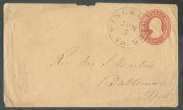 Entier Postal Enveloppe 3 Cents Obl. WINCHESTER Va. Du 5 Juin Vers Baltimore. - 9427 - ...-1900