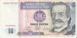 BILLETE DE PERU DE 10 INTIS DEL AÑO 1987 (BANKNOTE) - Perú