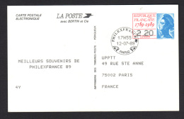 FRANCE-  Entier Postal Y&T N°2496A-CP-Carte Postale électronique- Philexfrance 1989 - Postal Stamped Stationery