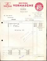 Faktuur Facture Brasserie Verhaeghe Vichte 1960 - Belgique
