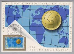 Motiv Fussball 1954-06-16 Maximumkarte Eröffnungsspiel Lausanne 2 - 1954 – Suisse