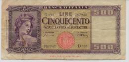 ITALY  P. 80a 500 L 1948 VF - [ 1] …-1946 : Koninkrijk