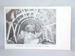 """Charbonnage. Dans La Fosse: Creusement Bouveau. Publicité Cachet """"Chocolats Des Chartreux - Ducardon Mons"""" - Mines"""