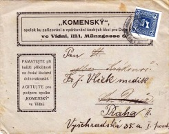 1908? ÖSTERREICH, 2 Heller Zeitungsmarke (ANK 157) Auf Brief, Gel.v. VIDNI (Wien) N. PRAG - Cartas