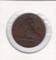5 CENTIMES Cuivre Léopold II 1848 Qualité++++++++++++ - 03. 5 Céntimos