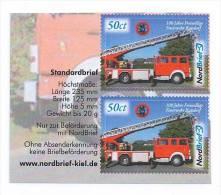 """Privatpost - NordBrief - """"100 Jahre FFW Raisdorf"""" Leiterwagen.(Doppel Mit Rand).. Fire-fighting Vehicle - Feuerwehr"""