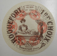 Publicité Très Ancienne Noel Pujol Roquefort Avec Lady Et Cabanière Sur Papier Transparent Diamètre 17cm - Advertising