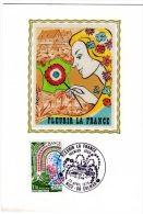 TIMBRE - FRANCE - FLEURIR LA FRANCE  - CARTE TIMBREE FDC 1er JOUR - 22 AVRIL 1978 DESSIN SUR SOIE - ETAT EXCELLENT - La Rochelle