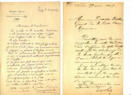 CHARBONNAGE BASSE SAMBRE ET BONNE ESPERANCE - NAMUR - LIEGE  -  2 LETTRES - 1877 - Manuscrits