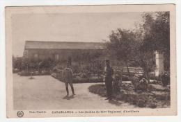 @ CPA ANIMEE CASABLANCA, LES JARDINS DU 64ème REGIMENT D´ARTILLERIE, SOLDATS ? MAROC - Casablanca