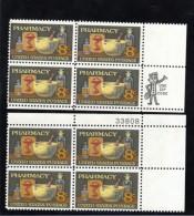 US Stamp Mr. ZIP & Plate # Block Of 4, #1473, Pharmacy Issue, Medicine Drug Prescription - Plate Blocks & Sheetlets