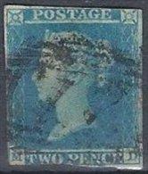 GRANDE-BRETAGNE - 2 P. Bleu Sur Azuré Oblitéré