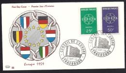 Env Fdc, 19/9/59 Conseil De L'europe Strasbourg, N°1218-9, Europa, Chaines, écussons - 1950-1959