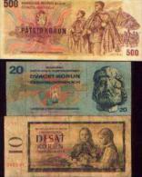 TCHECOSLOVAQUIE - Lot De 3 Billets - Tchécoslovaquie