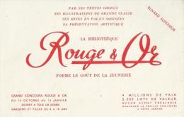 """La  Bibliothèque   """"  ROUGE  Et OR  """"          Ft  = 21 Cm  X  13.5 Cm - Stationeries (flat Articles)"""