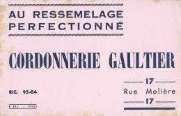"""""""   Cordonnerie   GAULTIER    """"  17 Rue Molière  -   Paris        Ft  = 21 Cm  X  13.5 Cm - Chaussures"""