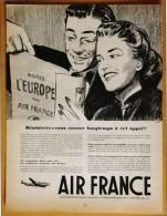 Publicité Papier Tourisme Voyage 1952 Avion AIR FRANCE Couple Passager Dessin - Pubblicitari
