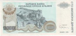 Croatia Srpska Krajina (Knin) 100.000.000 Dinara 1993 - Croatie