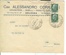 CORRADINI, BOLOGNA,  ARGENTERIE, BUSTA COMMERCIALE  VIAGGIATA  1936, BOLOGNA - LUGO - Argenteria