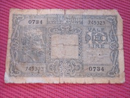 Biglieto Di Stato A Corso Legale 10  Diece Lire Italie Italia Billet De La Banque Italienne Italiano - Italia – 10 Lire