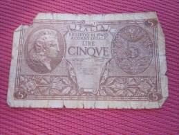 Biglieto Di Stato A Corso Legale 5 Lire Italie Italia Billet De La Banque Italienne Italiano - [ 1] …-1946 : Kingdom