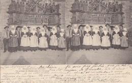 Folklore - Bretagne - Mariages Multiples - Groupe De Mariés Calvaire - Oblitération - Costumi