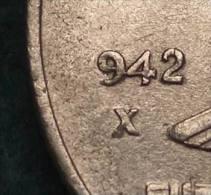 M_p>CURIOSITA´ Regno Vitt Eman III° 50 Centesimi 1942 XX Impero Magnetica Manca Cifra 1 E X  Curiosità - 1861-1946 : Regno