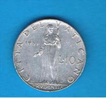 VATICANO - 10 Liras 1951  KM52 - Vaticano (Ciudad Del)