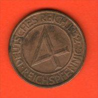 *** 4 Reichspfennig  1932 J *** KM 75 - Brüning - Taler - Bronce / Bronze  - ALEMANIA / DEUTSCHLAND / GERMANY - [ 3] 1918-1933 : República De Weimar