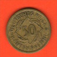 *** 50 Rentenpfennig  1924 A *** KM 34 -  Alu-Bronce / Alu-Bronze  - ALEMANIA / DEUTSCHLAND / GERMANY - [ 3] 1918-1933 : República De Weimar
