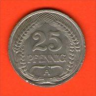 *** 25 Pfennig 1909 A ***  KM 18 -  Niquel / Nickel  - ALEMANIA / DEUTSCHLAND / GERMANY - [ 2] 1871-1918 : Imperio Alemán