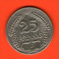 *** 25 Pfennig 1909 D ***  KM 18 -  Niquel / Nickel  - ALEMANIA / DEUTSCHLAND / GERMANY - 25 Pfennig