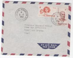 Enveloppe Affr. Timbres De MADAGASCAR Obl  ARCHIPEL KERGUELEN MADAGASCAR 2/1/1953  Pour PUGET Sur ARGENS - ...-1955 Prephilately