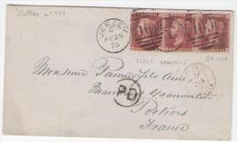 GB N° 26 Bande De 3 Pl160 OBL JESEY 409 25/2/1875 Sur Lettre Pour POITIERS  ILES C. GRANVILLE En Rouge 27/2/1875 - Jersey