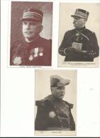 3 CP Sur Les Généraux   Guerre De 14/18...JOFFRE  PAU  CURRIERES......à Voir - Guerre 1914-18