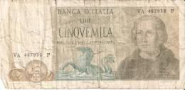 BILLETE DE ITALIA DE 5000 LIRAS DEL AÑO 1971 DE CRISTOBAL COLON (BANKNOTE) - [ 2] 1946-… : Repubblica